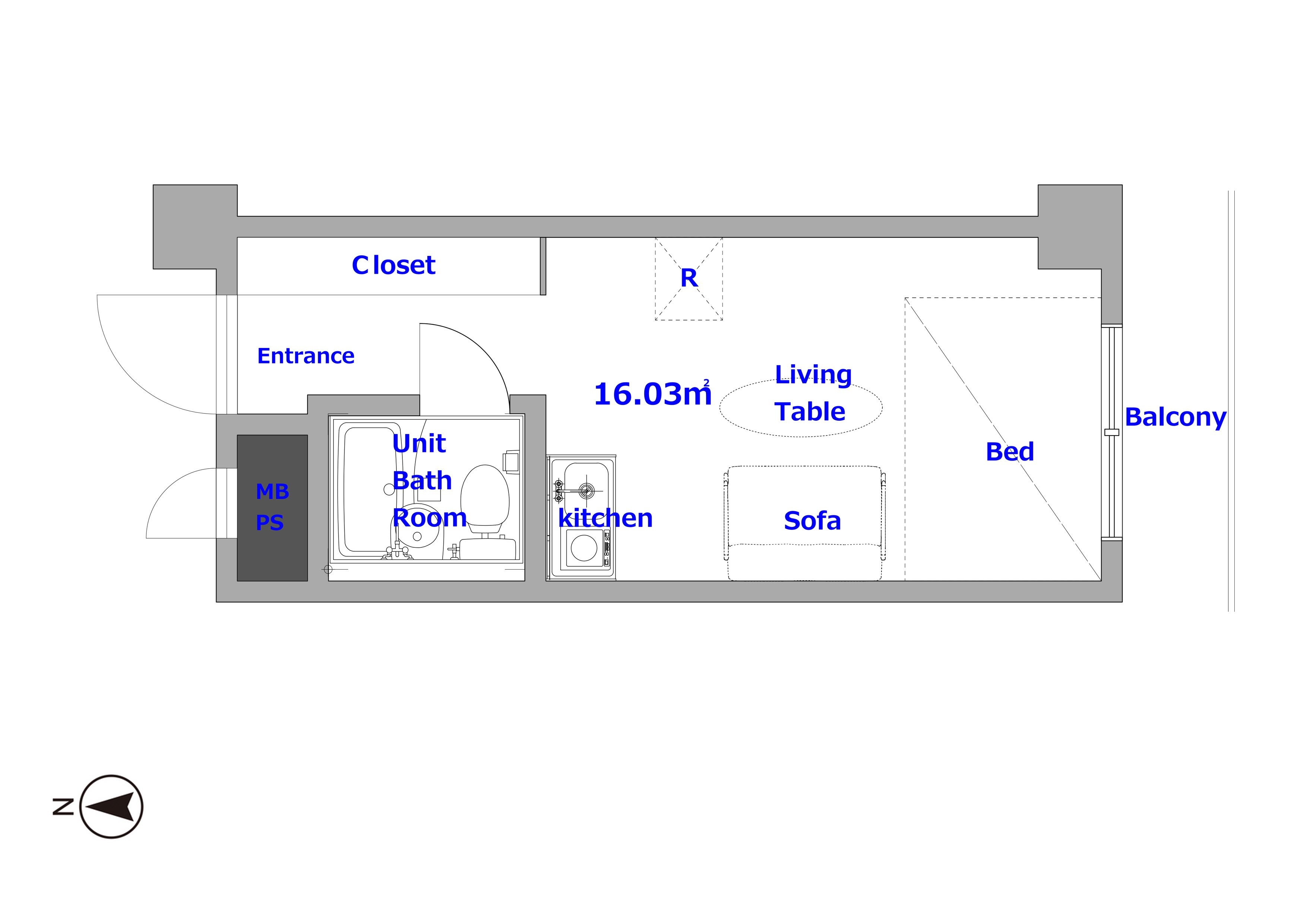 guesthouse sharehouse トーカン新宿第2キャステール floorplan1