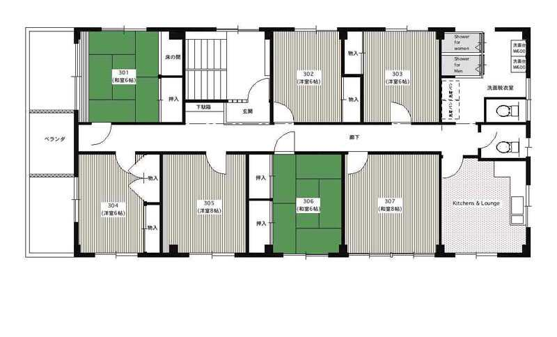 guesthouse sharehouse シェアスタイル錦糸町 floorplan1