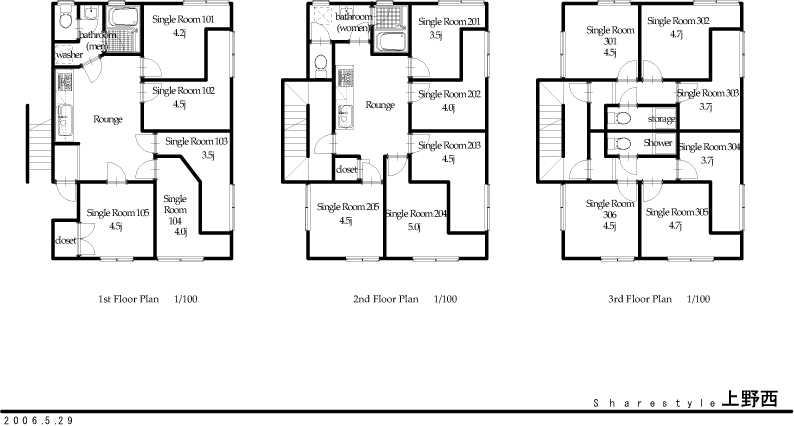 guesthouse sharehouse シェアスタイル上野西 floorplan1