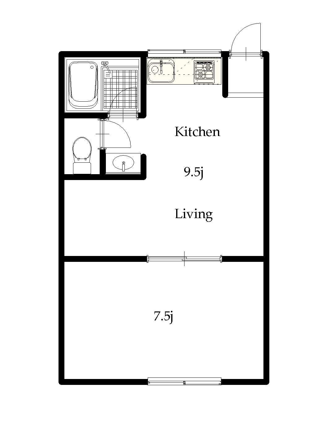 guesthouse sharehouse OAK APARTMENT TSURUKAWA floorplan1