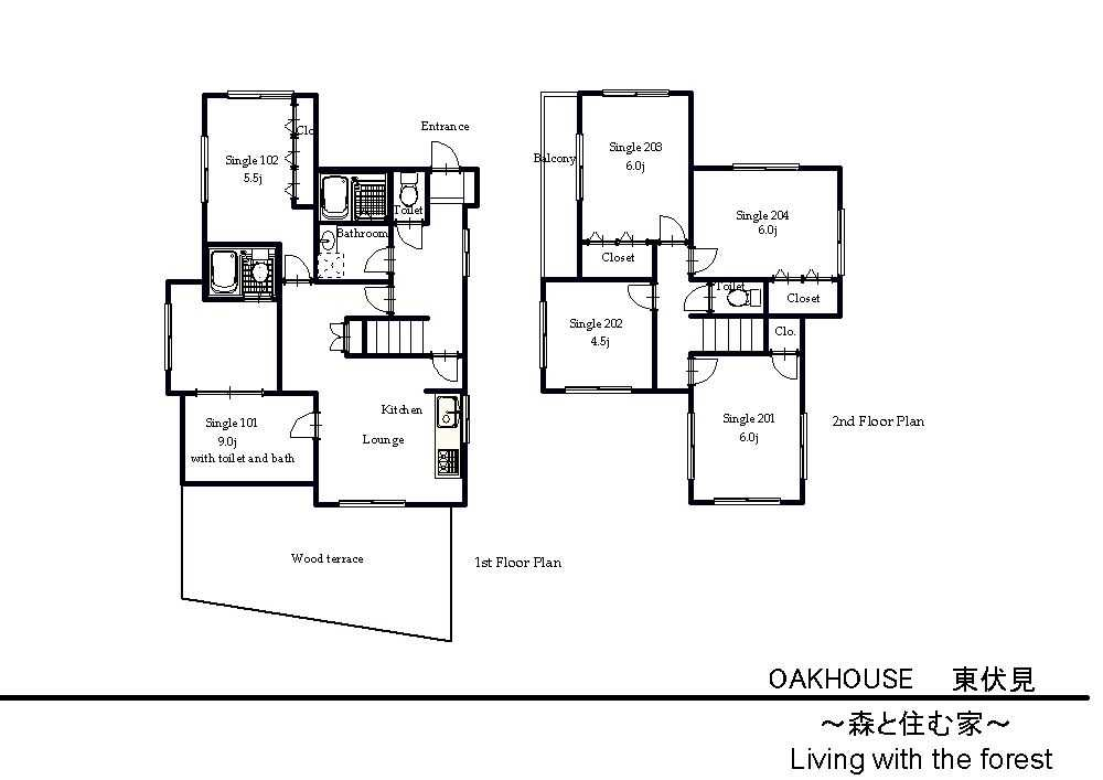 guesthouse sharehouse オークハウス東伏見 floorplan1