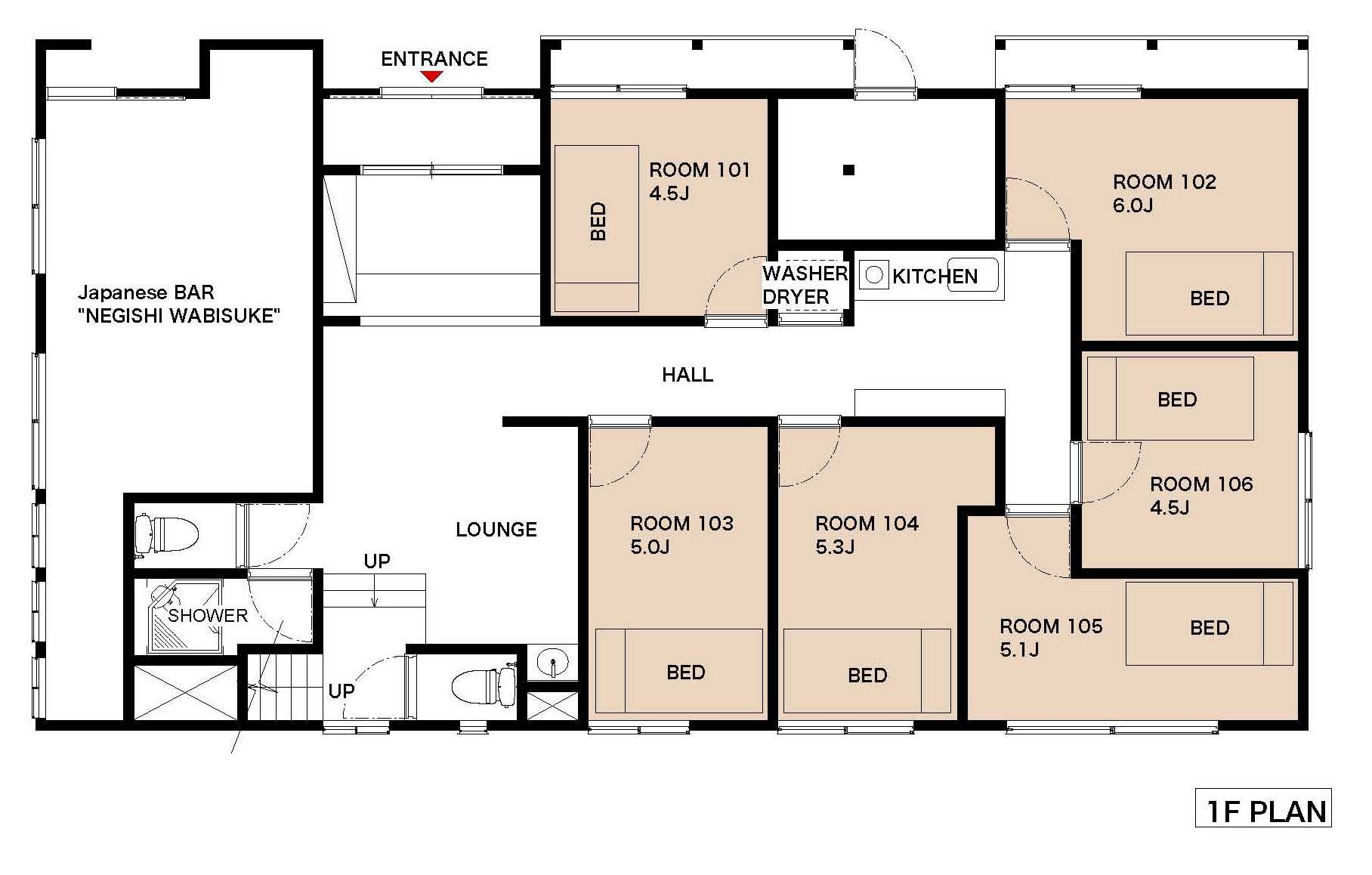 guesthouse sharehouse 上野RYOTEI福井 floorplan1