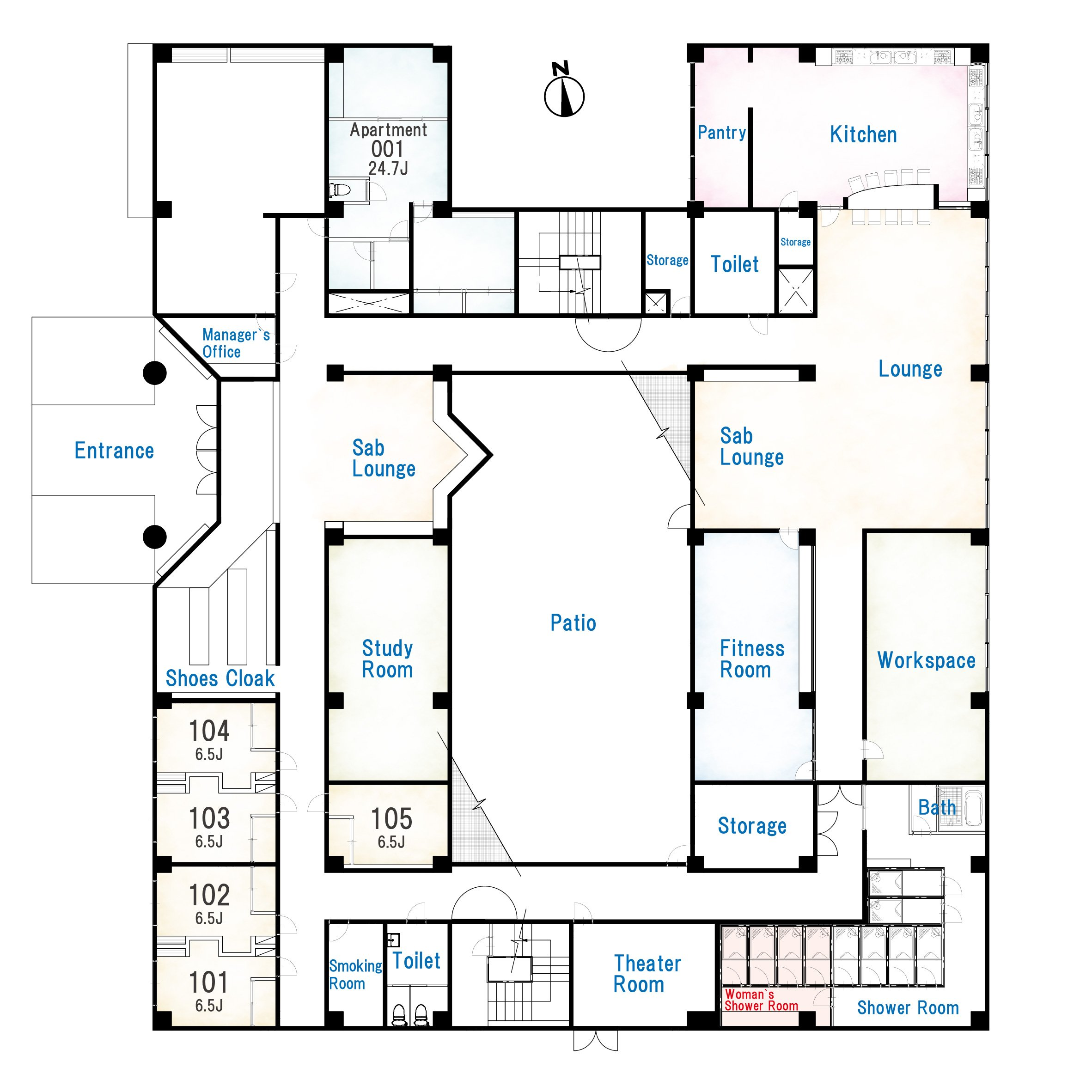 guesthouse sharehouse SOCIAL RESIDENCE TAMA PLAZA floorplan1