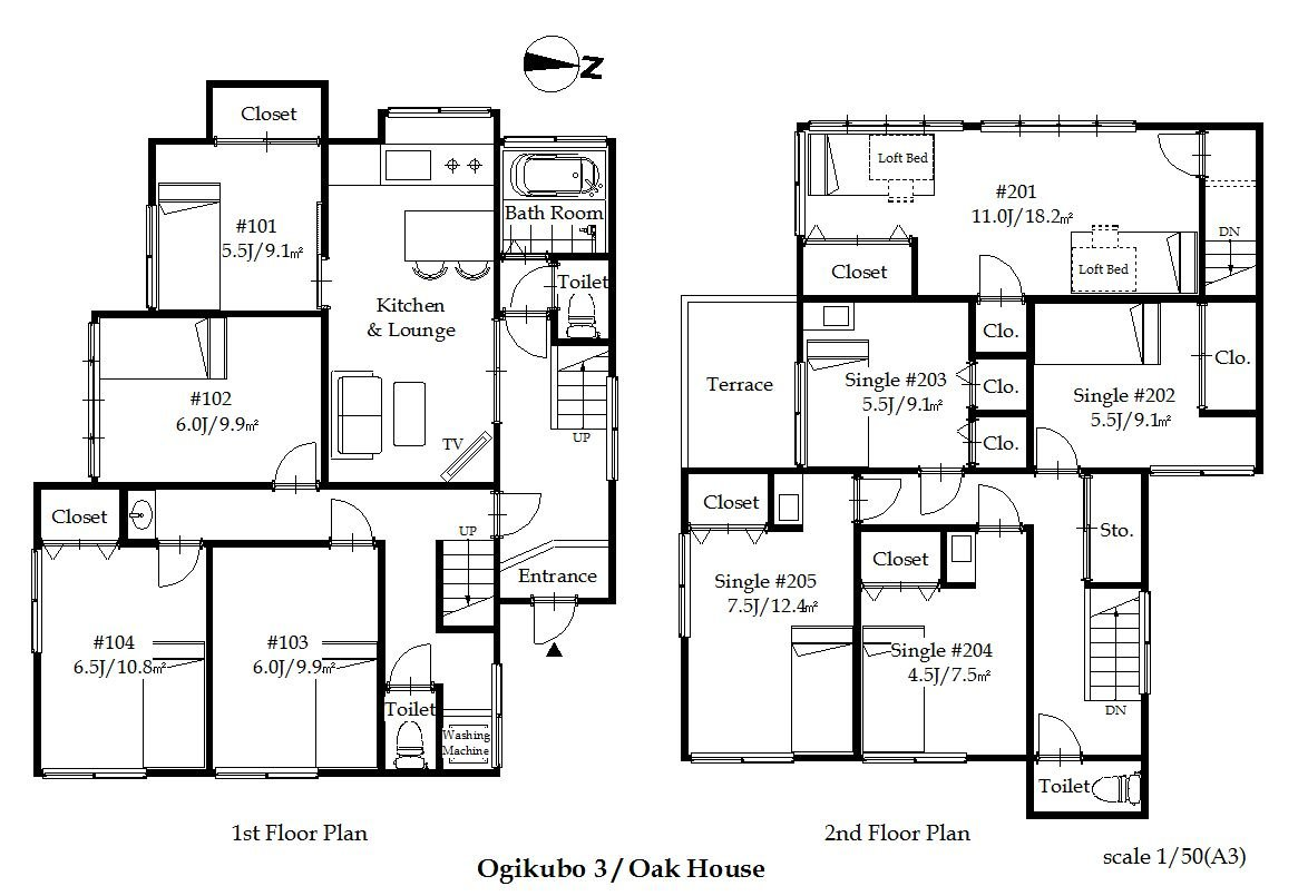 guesthouse sharehouse OAKHOUSE 荻窪3 floorplan1