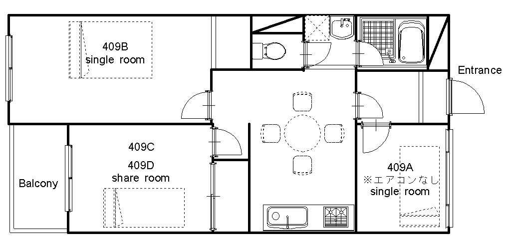 guesthouse sharehouse オークハウス門前仲町 floorplan1