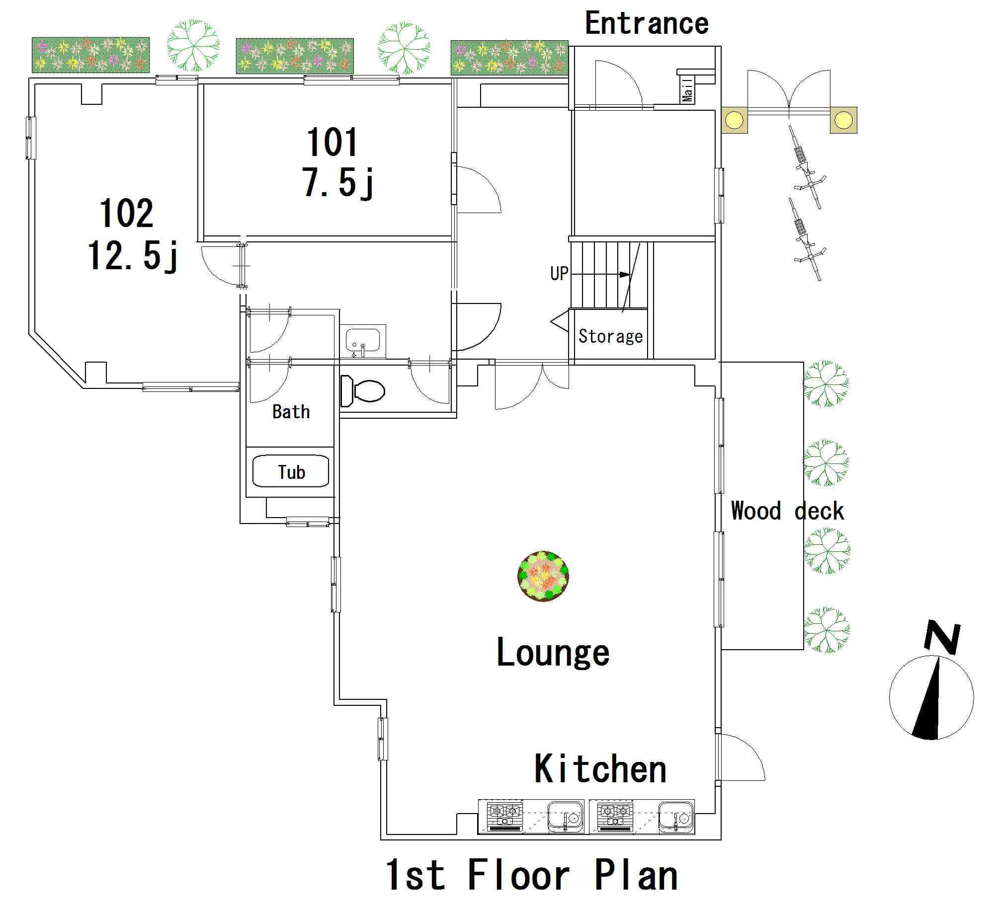 guesthouse sharehouse FLORA GARDEN AZABU floorplan1