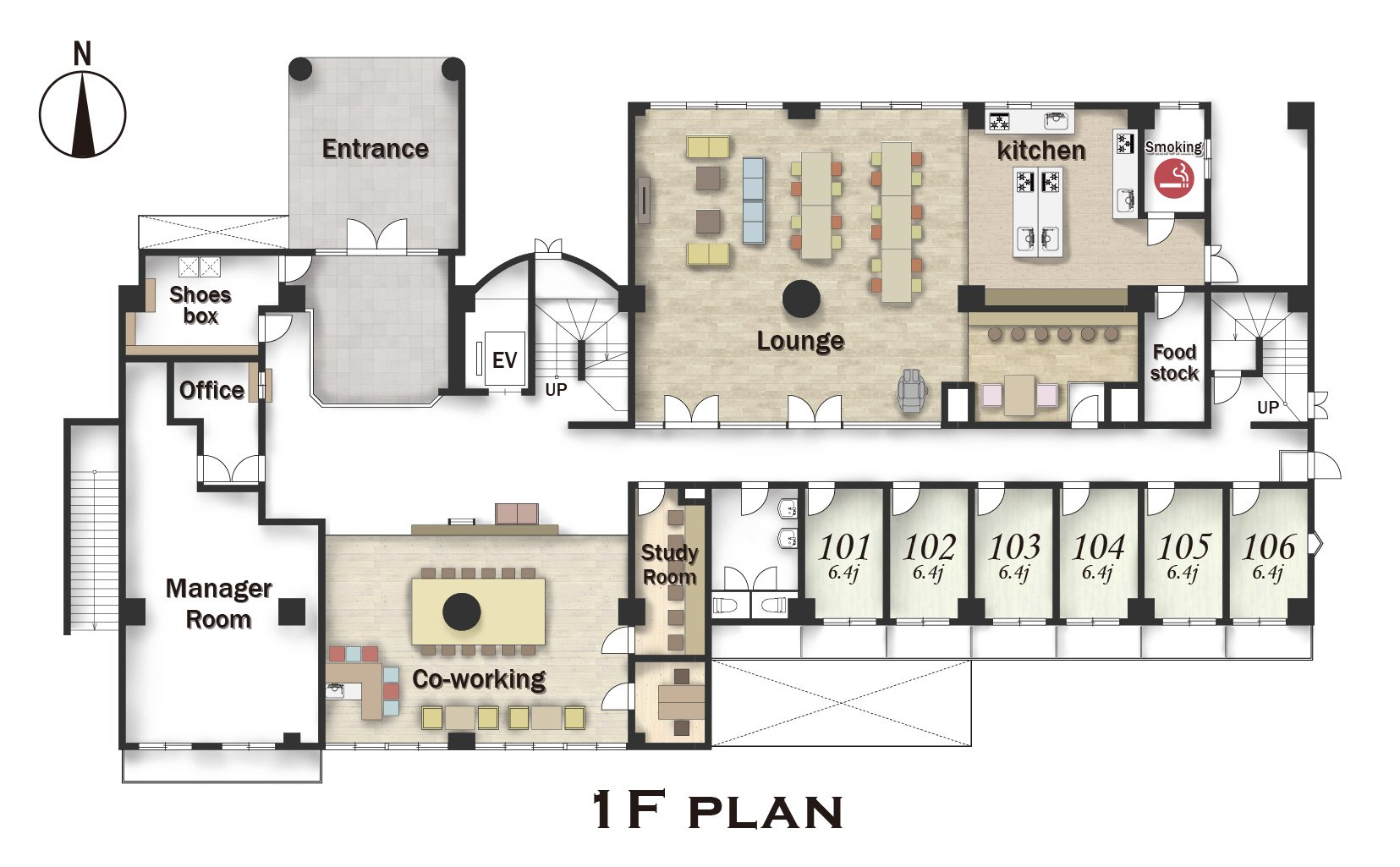 guesthouse sharehouse Social residence  하나코가네이 floorplan2