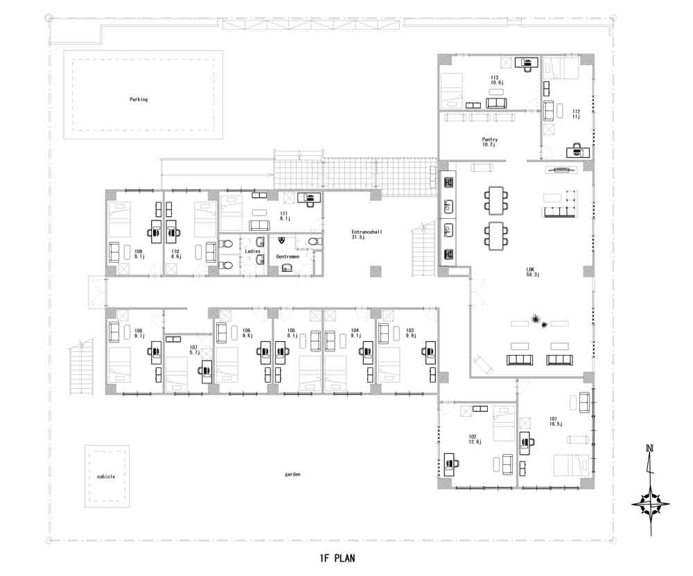 guesthouse sharehouse SOCIAL RESIDENCE URAWA floorplan1