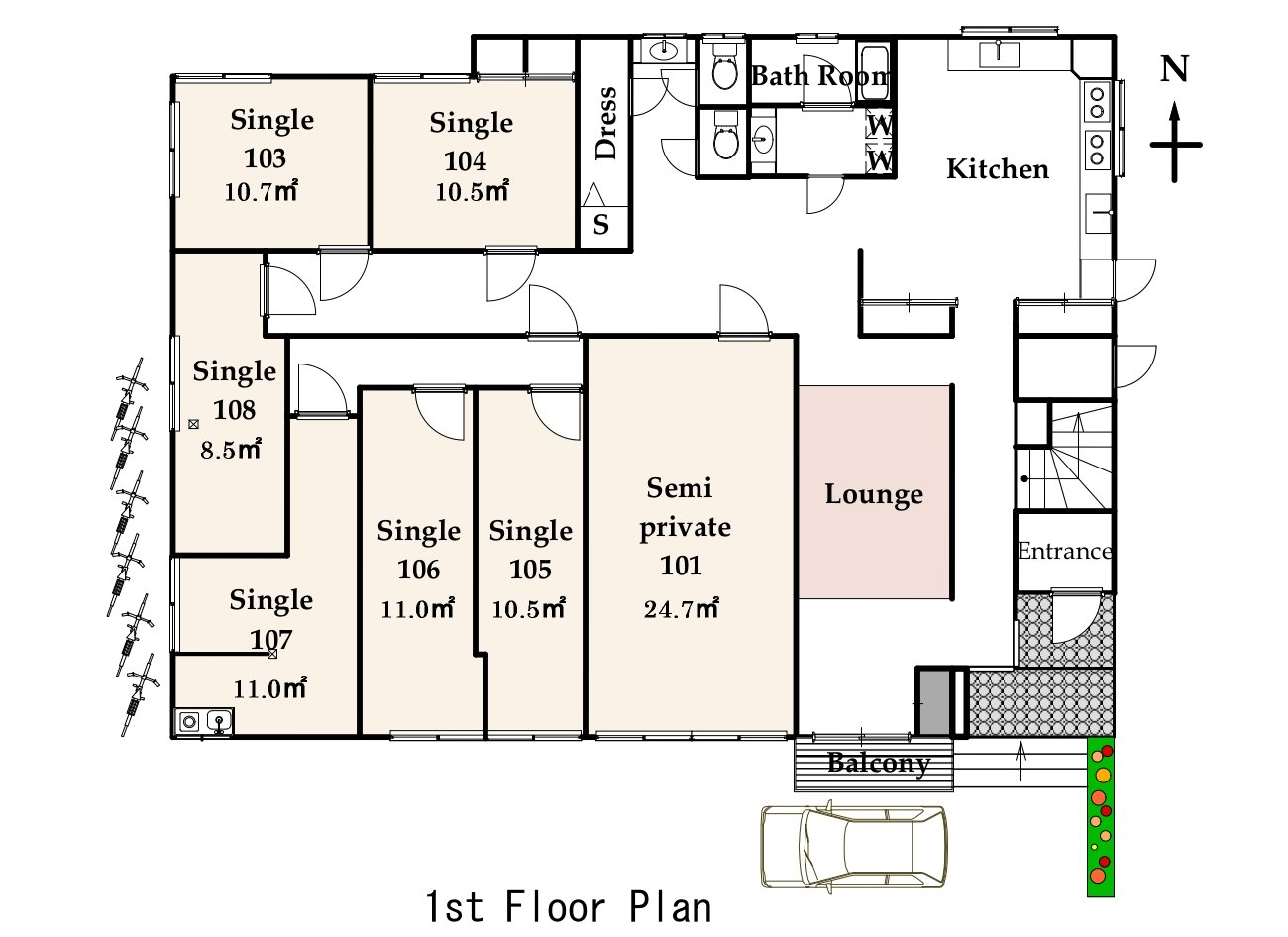 guesthouse sharehouse ファストルーム高円寺 floorplan1
