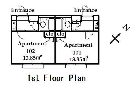 guesthouse sharehouse OAK APARTMENT NISHIDAI floorplan1