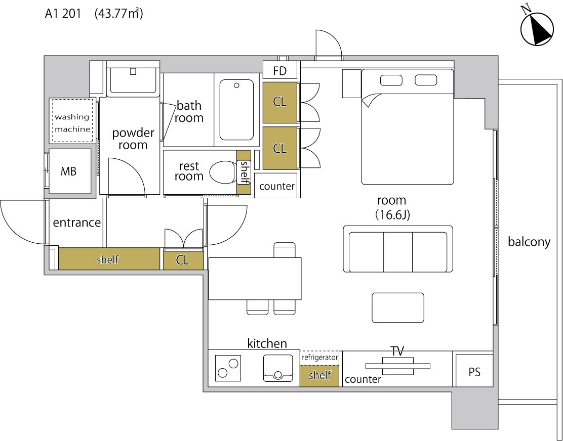 guesthouse sharehouse ヘーベルSTAY代官山 floorplan1