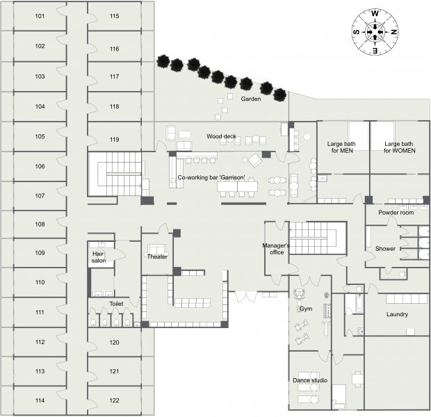 guesthouse sharehouse Social Residence 훗사 floorplan1