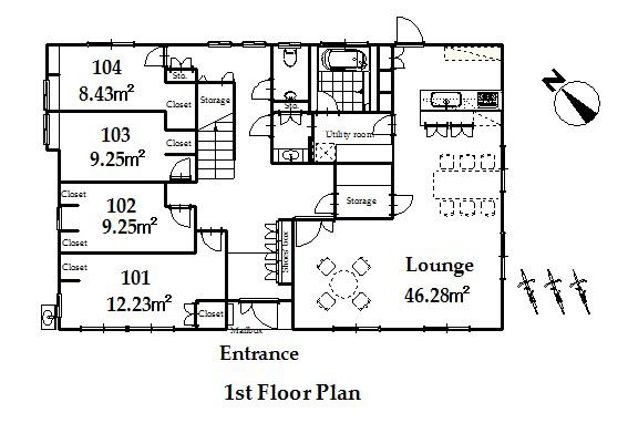 guesthouse sharehouse オークハウス川越南古谷 floorplan1