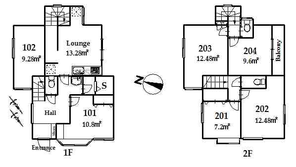 guesthouse sharehouse OAKHOUSE TAKENOTSUKA floorplan1