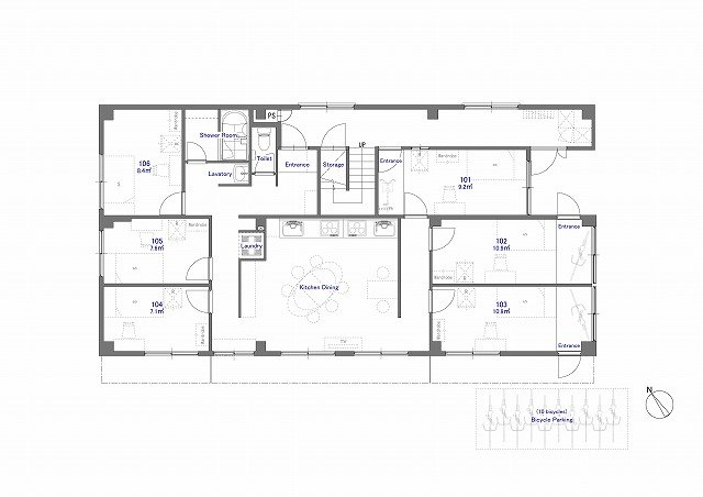 guesthouse sharehouse ジアス南砂 floorplan1