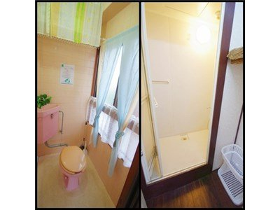 Female floor with toilet and shower