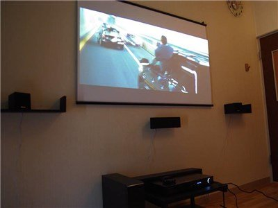 New theater room: Powerful sound & big screen!