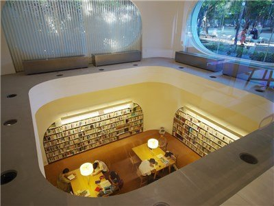 Library inside.You can read a book with coffee!