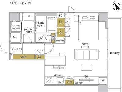 guesthouse sharehouse HEBEL STAY代官山 room201-A1